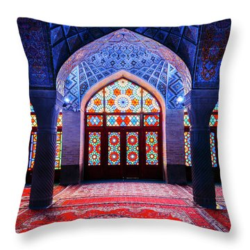 Pink Mosque, Iran Throw Pillow