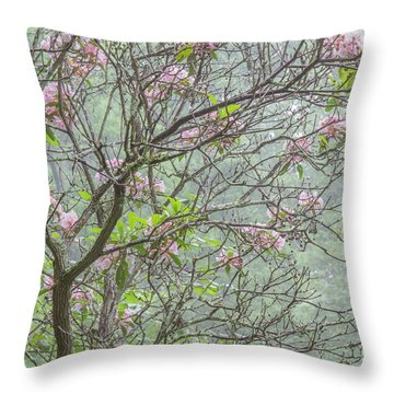 Throw Pillow featuring the photograph Pink Mountain Laurel by Chris Scroggins