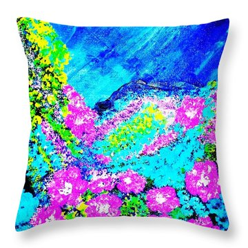 Throw Pillow featuring the painting Pink N Blue by Piety Dsilva