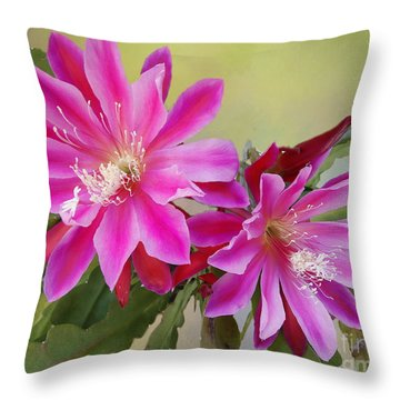 Pink Epiphyllum Lily Throw Pillow by Myrna Bradshaw