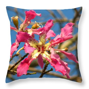 Pink Orchid Tree Throw Pillow by Carla Parris