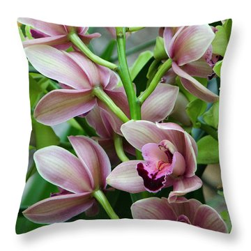 Throw Pillow featuring the photograph Pink Orchids 2 by Ann Bridges