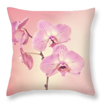Throw Pillow featuring the photograph Pink Orchids 2 by Linda Phelps
