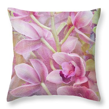 Throw Pillow featuring the photograph Pink Orchids by Ann Bridges