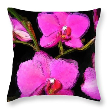 Pink Orchids Throw Pillow by Dennis Lundell