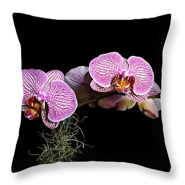 Throw Pillow featuring the photograph Pink Orchids by Gary Dean Mercer Clark