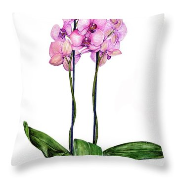 Throw Pillow featuring the painting Pink Orchids by Heidi Kriel