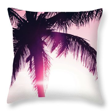 Throw Pillow featuring the photograph Pink Palm Tree Silhouettes Kihei Tropical Nights by Sharon Mau