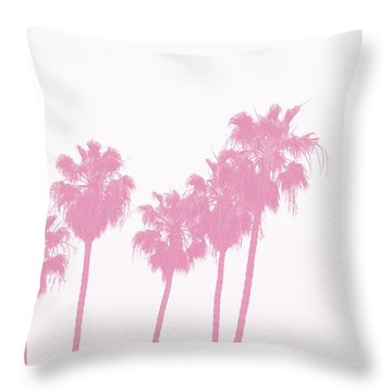 Pink Palm Trees- Art By Linda Woods Throw Pillow