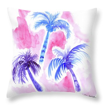 Pink Palm Trees Throw Pillow