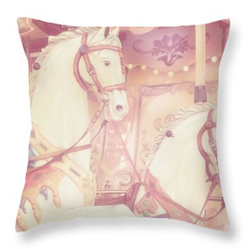 Pink Paris Carousel Throw Pillow