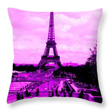 Throw Pillow featuring the photograph Pink Paris by Michelle Dallocchio