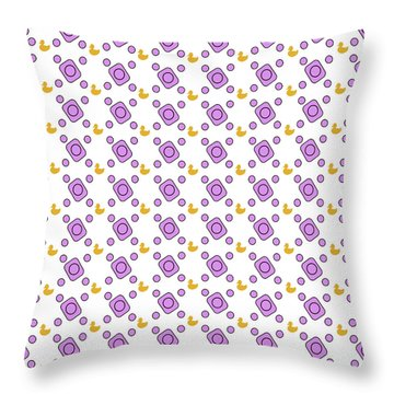 Pink Pattern With Ducks Throw Pillow