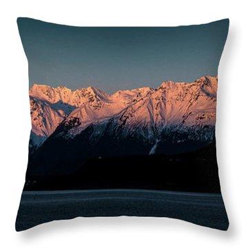 Pink Peaks II Throw Pillow