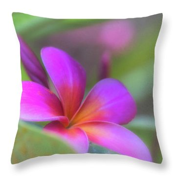 Pink Peekaboo Plumeria Throw Pillow