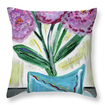 Pink Peonies-gray Table Throw Pillow