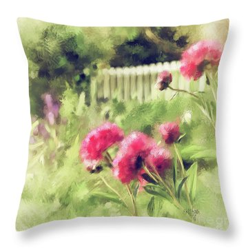 Pink Peonies In A Vintage Garden Throw Pillow by Lois Bryan
