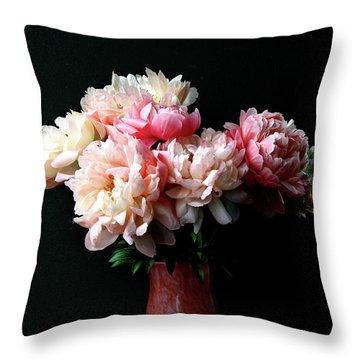 Pink Peonies In Pink Vase Throw Pillow