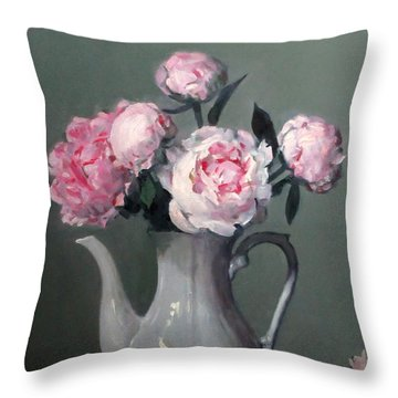 Pink Peonies In White Coffeepot Throw Pillow