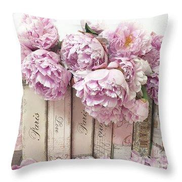 Pink Peonies Paris Books Romantic Shabby Chic Wall Art Home Decor Throw Pillow