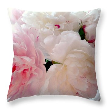 Pink Peonies Throw Pillow by Patricia E Sundik