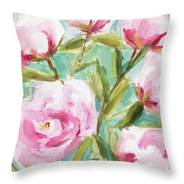 Pink Peony Branches Throw Pillow