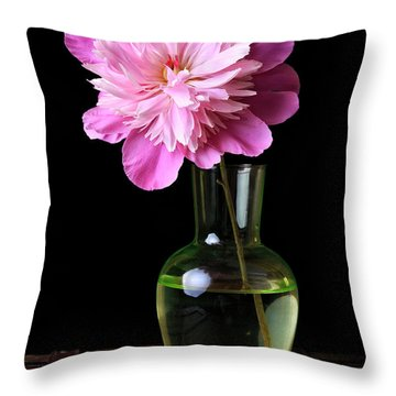 Pink Peony Flower In Vase Throw Pillow