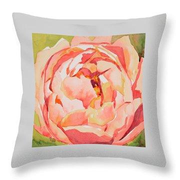 Pink Peony Glow  Throw Pillow by Jo  Mackenzie