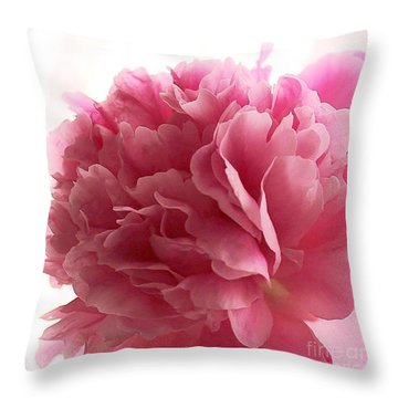 Pink Peony Throw Pillow by Katy Mei