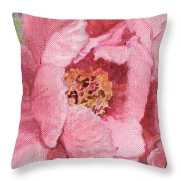 Pink Peony Throw Pillow by Kristen Abrahamson