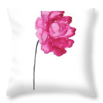 Pink Peony, Nursery Decor Wall Art Print, Abstract Illustration Throw Pillow