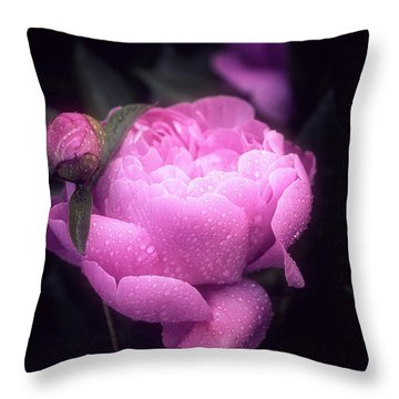 Pink Peony Throw Pillow by Philippe Sainte-Laudy
