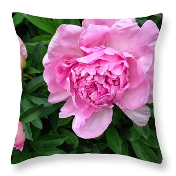 Pink Peony With Buds Throw Pillow