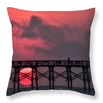 Pink Pier Sunrise Throw Pillow