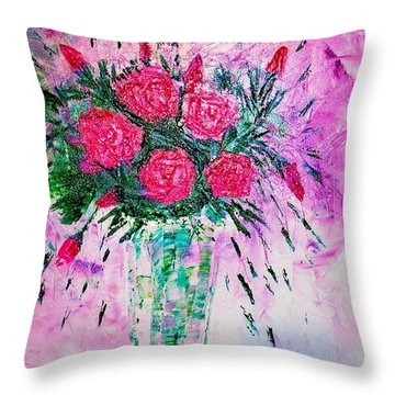 Throw Pillow featuring the painting Pink by Piety Dsilva