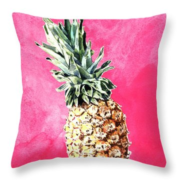 Pink Pineapple Bright Fruit Still Life Healthy Living Yoga Inspiration Tropical Island Kawaii Cute Throw Pillow by Laura Row