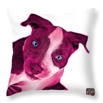 Pink Pitbull Dog Art 7435 - Wb Throw Pillow by James Ahn
