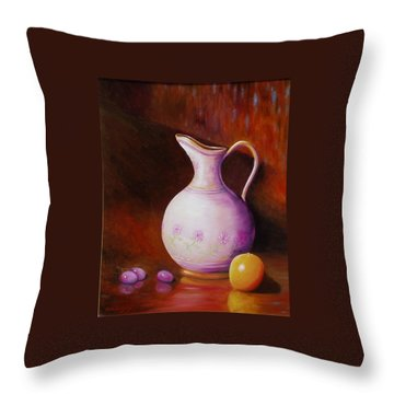 Pink Pitcher Throw Pillow