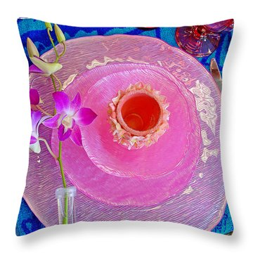 Pink Place Setting Throw Pillow