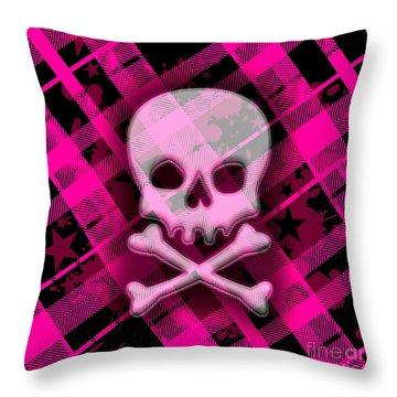 Pink Plaid Skull Throw Pillow by Roseanne Jones