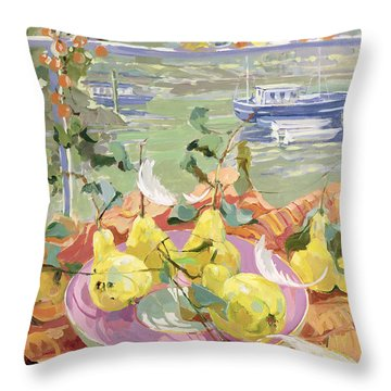 Pink Plate Of Pears Throw Pillow by Elizabeth Jane Lloyd