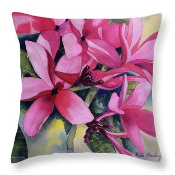 Pink Plumeria Flowers Throw Pillow
