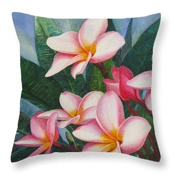 Pink Plumerias Throw Pillow by Karen  Sioson