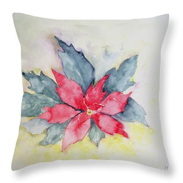 Pink Poinsetta On Blue Foliage Throw Pillow