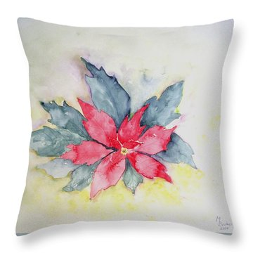 Pink Poinsetta On Blue Foliage Throw Pillow