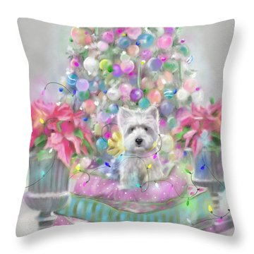 Pink Poinsettias Throw Pillow by Mary Sparrow