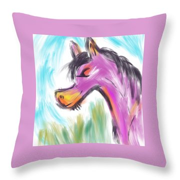 Throw Pillow featuring the digital art Pink Pony by Marti McGinnis