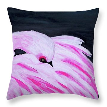 Throw Pillow featuring the painting Pink Primping Flamingo by Sonya Nancy Capling-Bacle