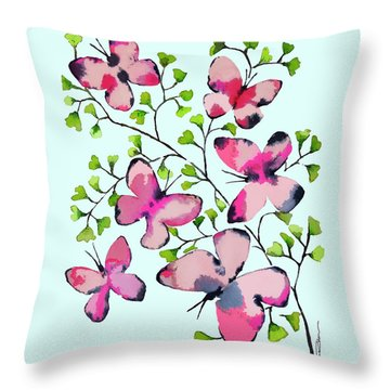 Pink Profusion Butterflies Throw Pillow by Roleen Senic