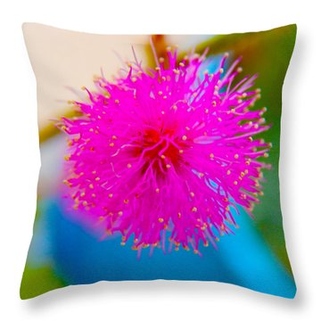 Pink Puff Flower Throw Pillow by Samantha Thome